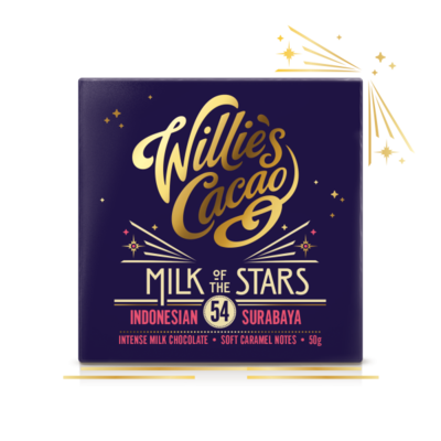 Willie's Cacao Čokoláda Willie's mléčná MILK OF THE STARS, Indonesian Surubaya 54%, 50g